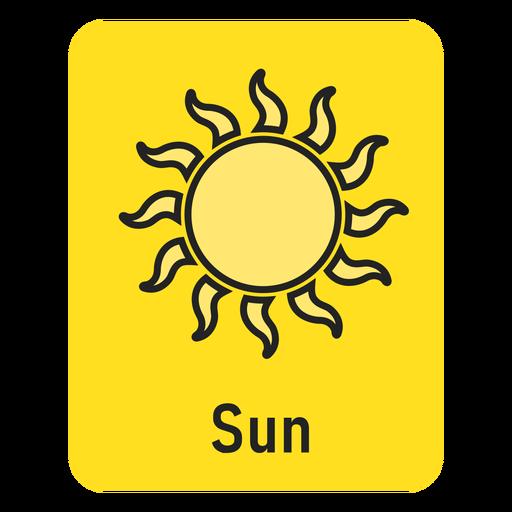 Sun yellow flashcard