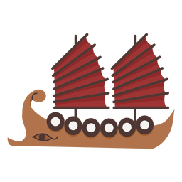 Two red sail shield ship