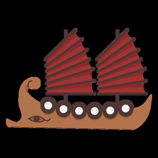 Two red sail shield ship