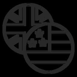 Trazo de iconos de estados unidos y reino unido