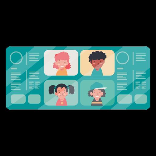 Videollamada con ilustración de niños