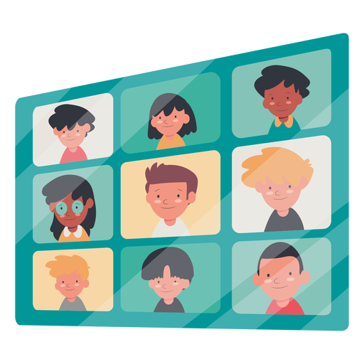 Video call with kids illustration video