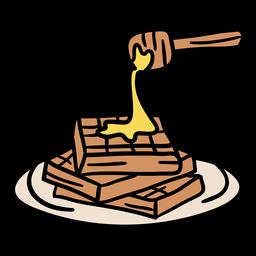 Waffles con miel dibujados a mano