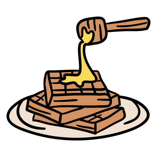 Waffles with honey hand drawn