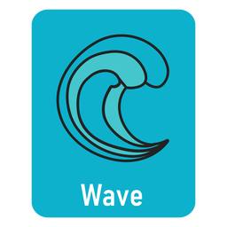 Wave lightblue flashcard