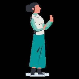 Mujer con dedo arriba personaje