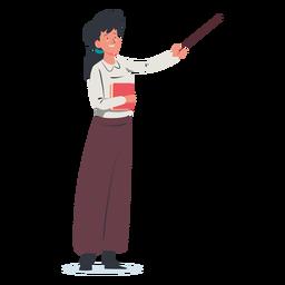 Mujer con personaje señalador