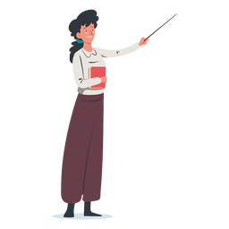 Woman with pointing stick character