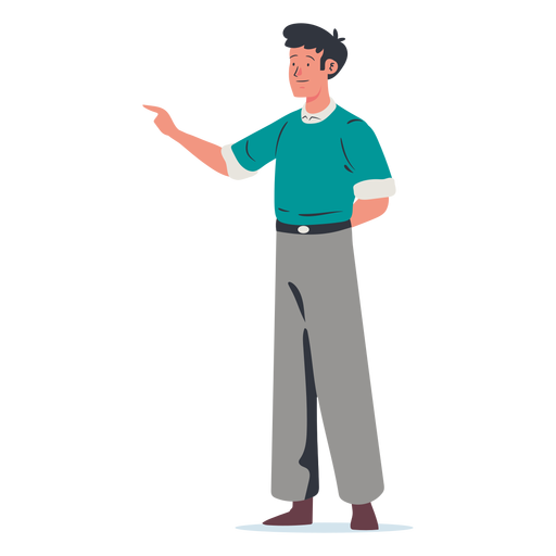 Young man pointing character Transparent PNG