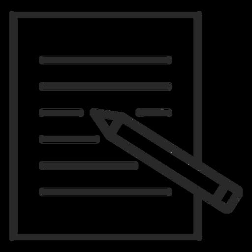 Lápiz de escritura en trazo de papel