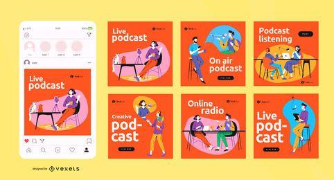 Conjunto de publicaciones de redes sociales de podcast
