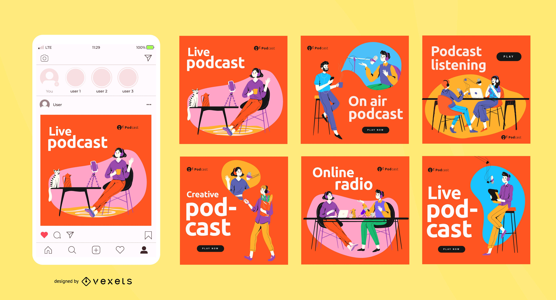 Podcast social media posts set