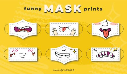 Conjunto de desenhos de máscara de rosto engraçado