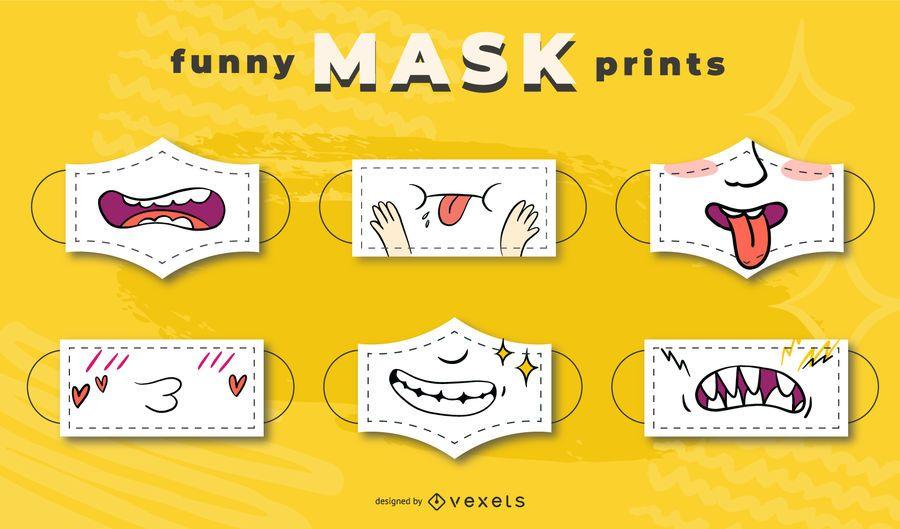 Funny face mask designs set