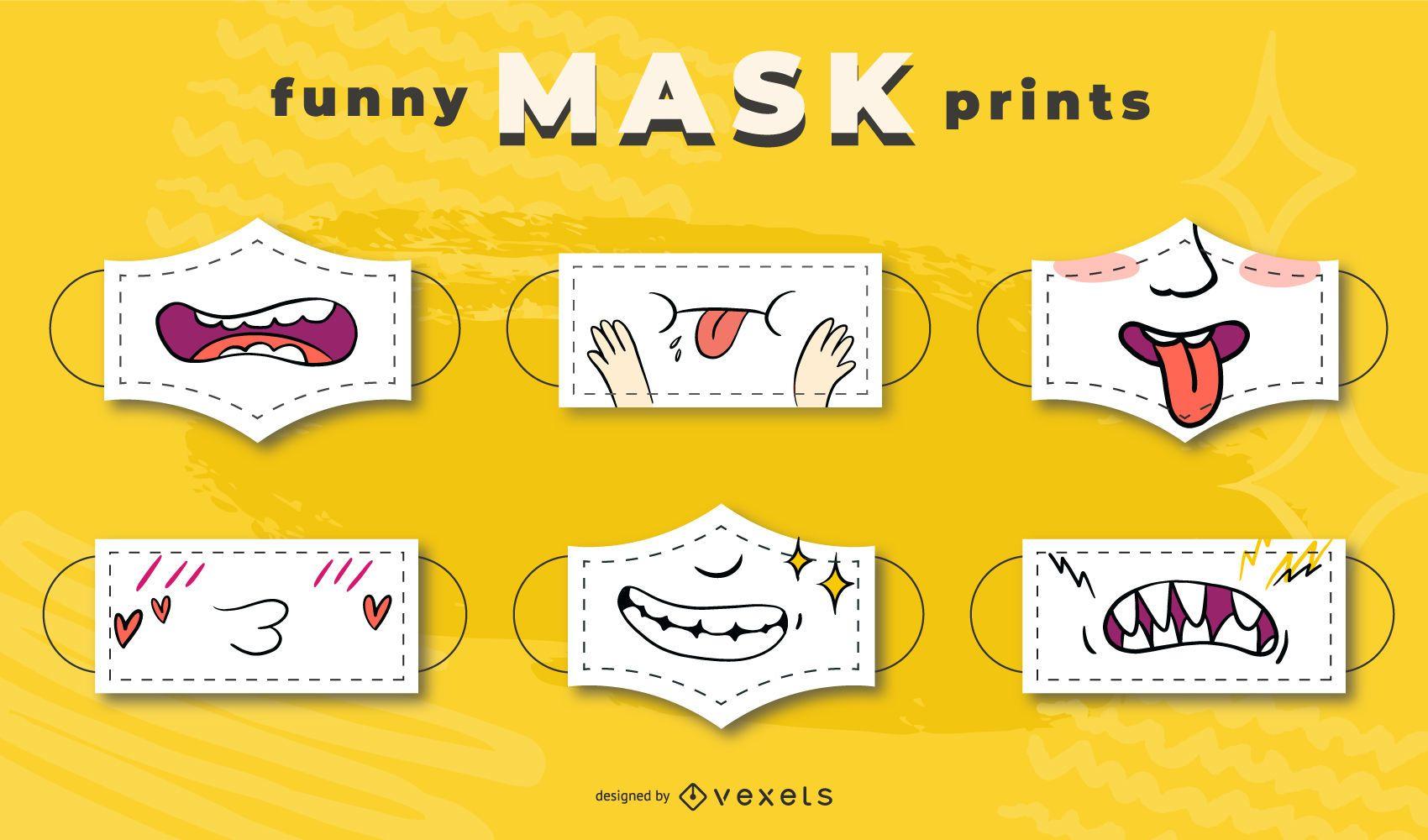 Conjunto de diseños divertidos de mascarillas