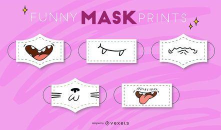 Conjunto de mascarillas de boca de divertidos dibujos animados