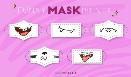 Funny cartoon mouth face masks set