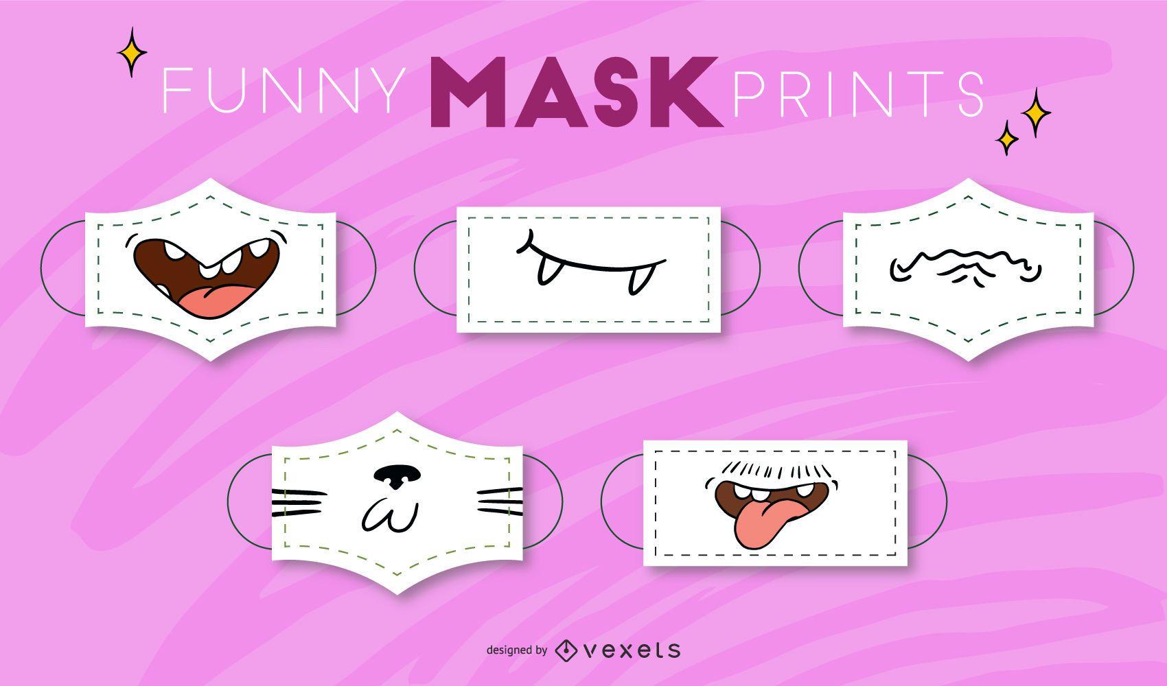 Funny cartoon mouth face masks set