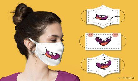 Conjunto de máscaras faciales bocas divertidas