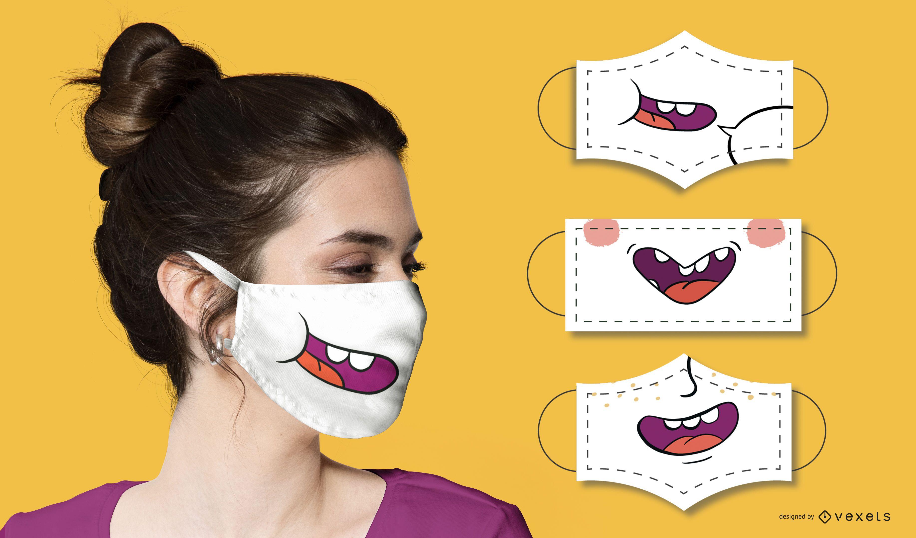 Funny mouths face masks set