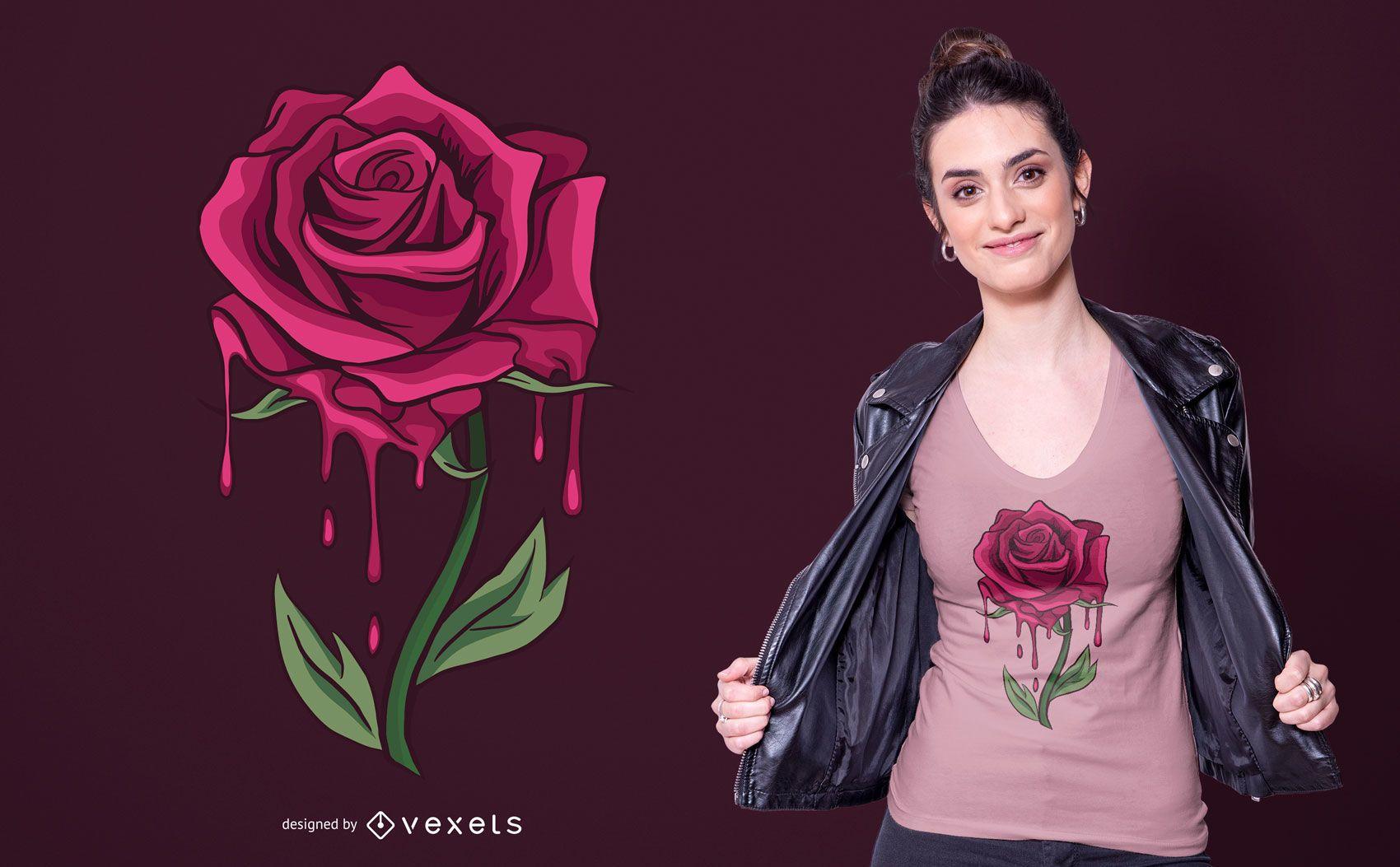 Design de camiseta Bleeding Rose