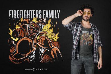 Diseño de camiseta de la familia de bomberos