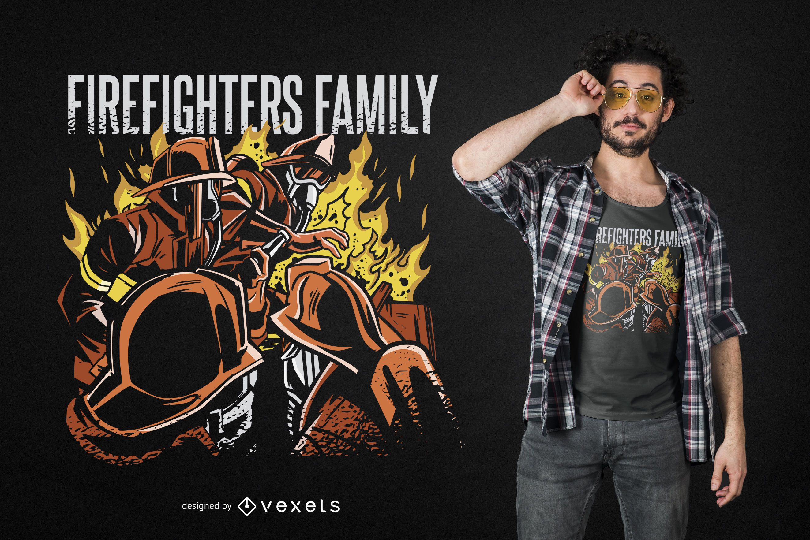 Diseño de camiseta de familia de bombero