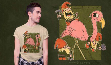 Design de camiseta de flamingo e gnomos