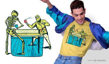 Diseño de camiseta de esqueleto de tenis de mesa