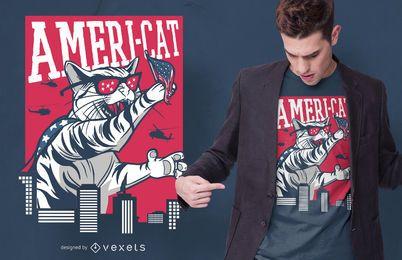 Diseño de camiseta Ameri Cat