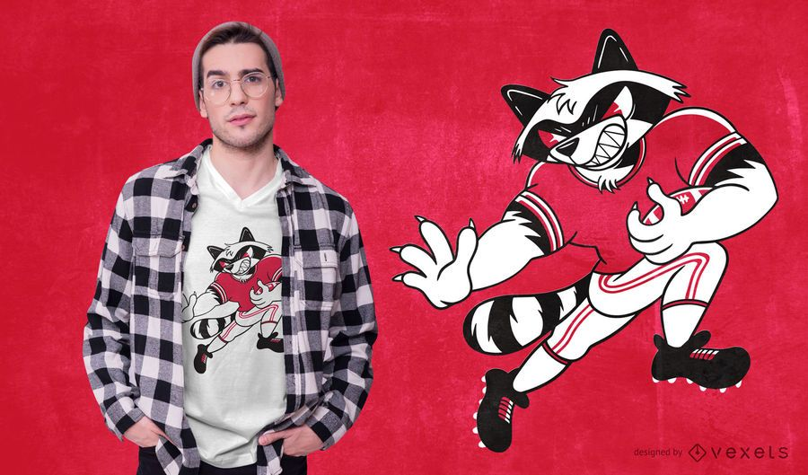 Football Raccoon T-shirt Design