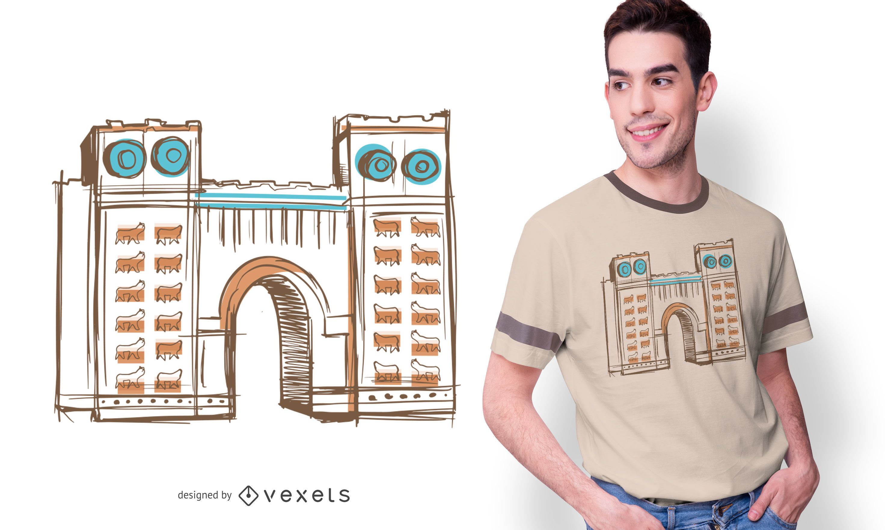 Babylonian Illustration T-shirt Design