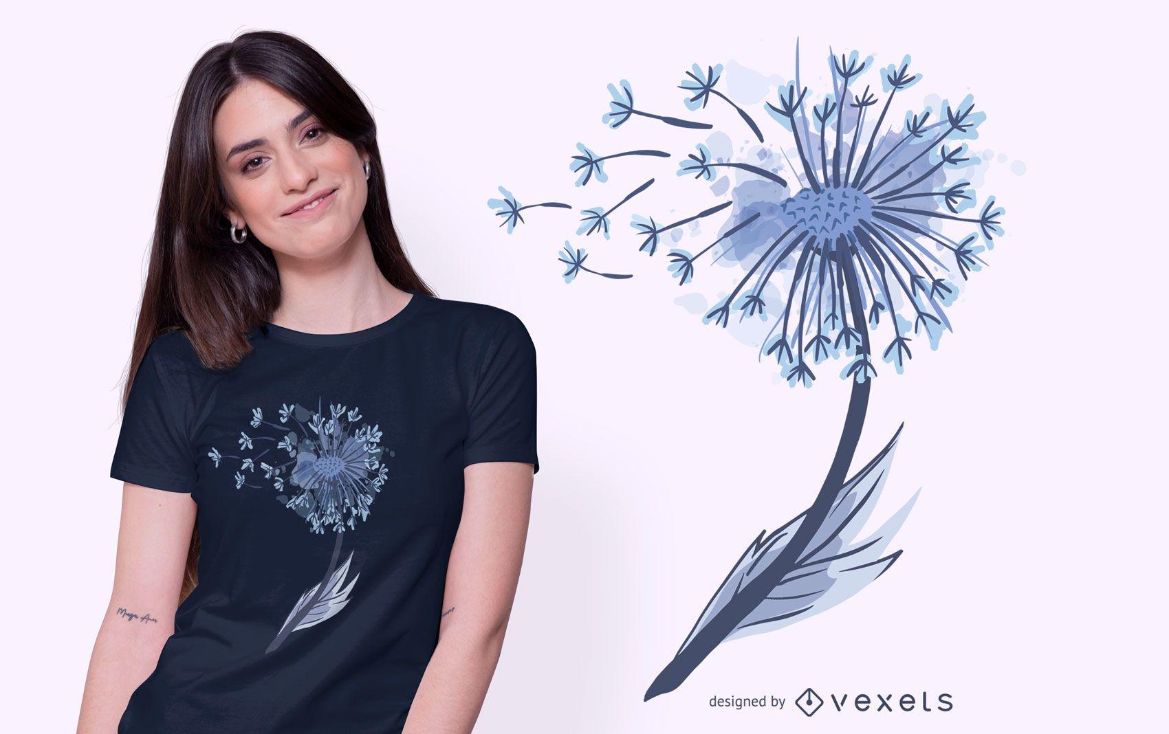 Design de camiseta aquarela dente-de-leão