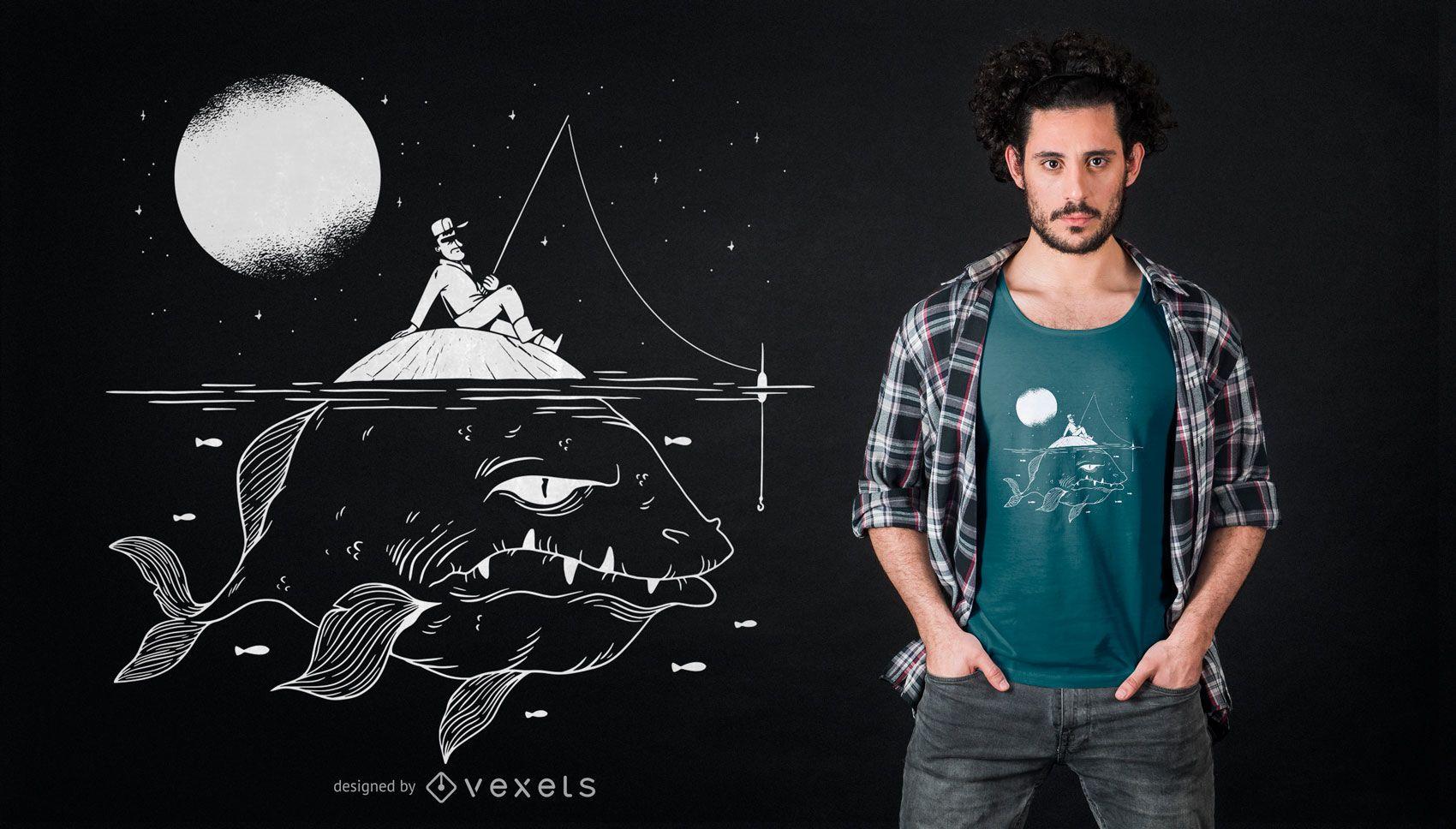 Diseño de camiseta de pez al acecho