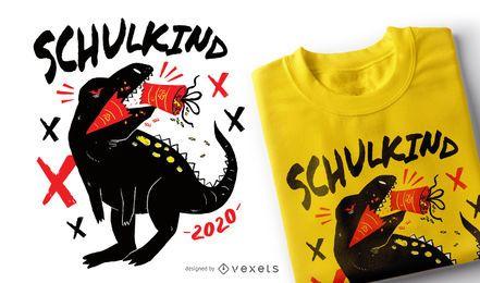 Diseño de camiseta alemana School T-rex