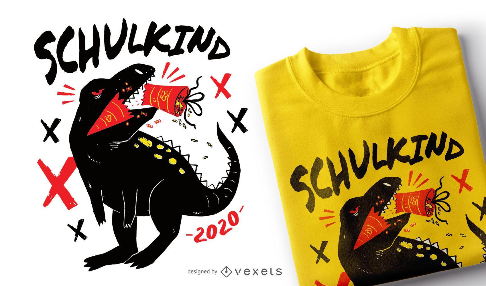 School T-rex German T-shirt Design