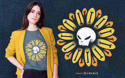 Design de t-shirt de flor de caveira