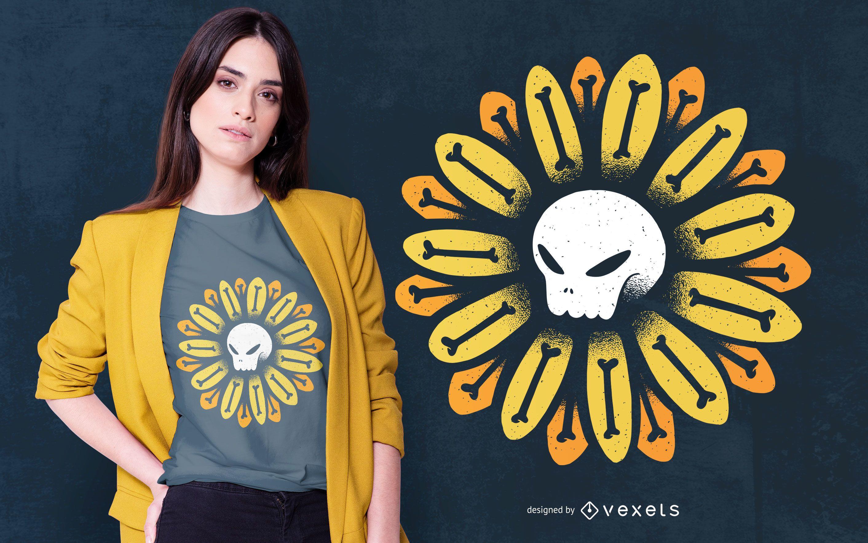 Diseño de camiseta Skull Flower