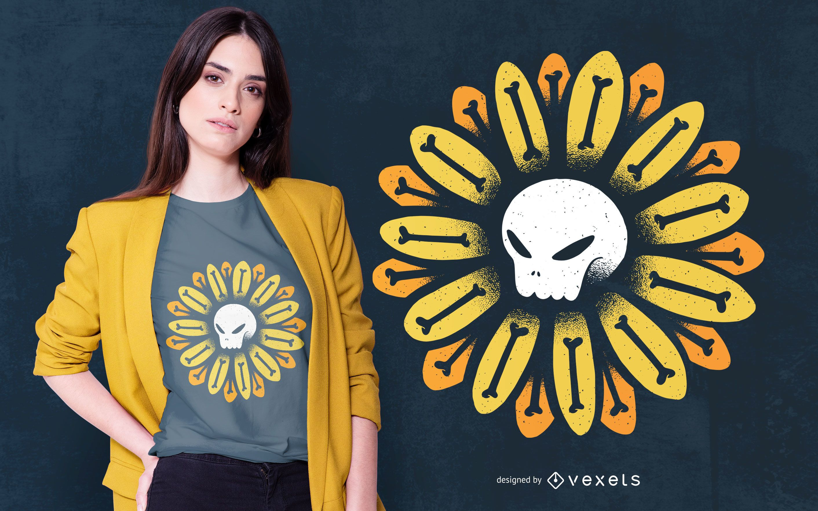 Schädel-Blumen-T-Shirt Design