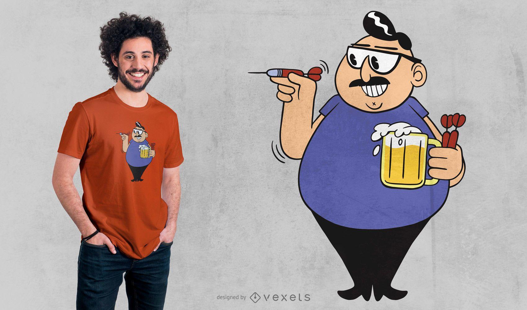 Design de camiseta para jogador de dardos