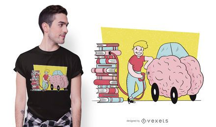 Design do t-shirt do combustível cerebral do livro