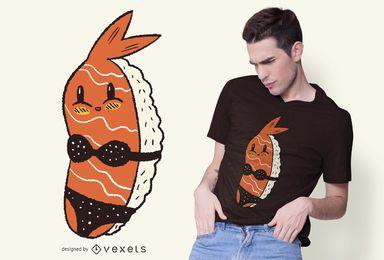 Design de t-shirt de biquíni de sushi