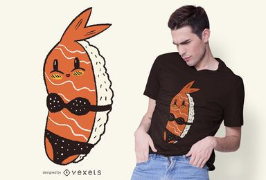 Diseño de camiseta de bikini de sushi