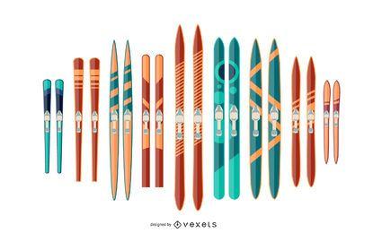 Conjunto de ilustración de par de esquí colorido