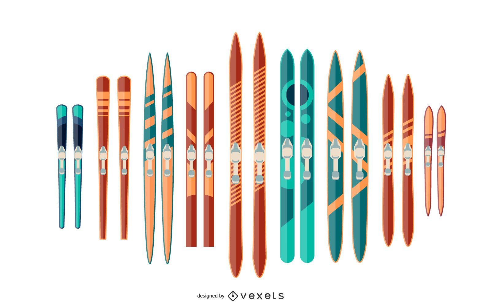 Colorful Ski Pair Illustration Set