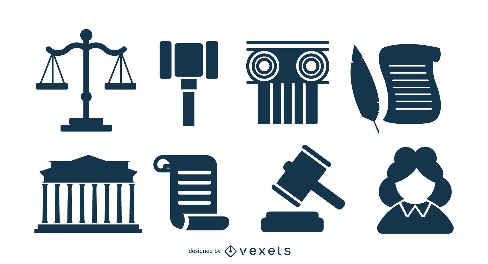 Law Silhouette Icon Pack