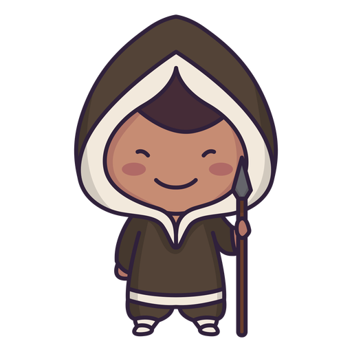 Alaska lindo personaje chico lanza plana