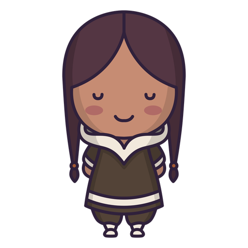 Alaska cute character girl long hair flat Transparent PNG