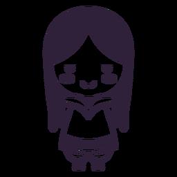 Tração de cabelo comprido de menina personagem fofa do Alasca