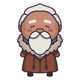 Alaska cute character old man flat
